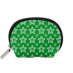 Green White Star Line Space Accessory Pouches (small)  by Alisyart