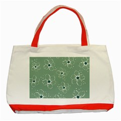 Floral Flower Rose Sunflower Grey Classic Tote Bag (red) by Alisyart