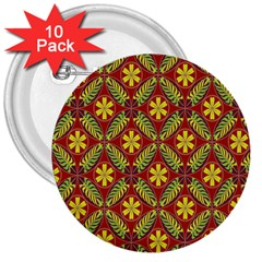 Abstract Yellow Red Frame Flower Floral 3  Buttons (10 Pack)  by Alisyart