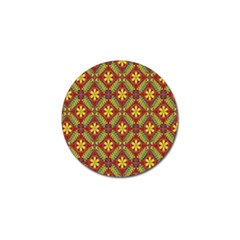 Abstract Yellow Red Frame Flower Floral Golf Ball Marker by Alisyart