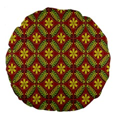 Abstract Yellow Red Frame Flower Floral Large 18  Premium Flano Round Cushions by Alisyart