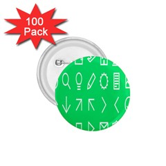 Icon Sign Green White 1 75  Buttons (100 Pack)  by Alisyart