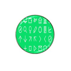 Icon Sign Green White Hat Clip Ball Marker (4 Pack) by Alisyart
