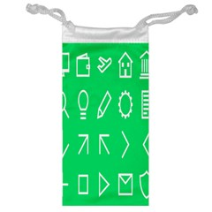 Icon Sign Green White Jewelry Bag by Alisyart