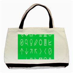 Icon Sign Green White Basic Tote Bag by Alisyart