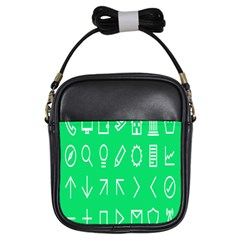 Icon Sign Green White Girls Sling Bags by Alisyart