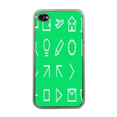 Icon Sign Green White Apple Iphone 4 Case (clear) by Alisyart