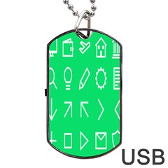 Icon Sign Green White Dog Tag Usb Flash (one Side) by Alisyart