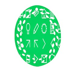 Icon Sign Green White Ornament (oval Filigree) by Alisyart