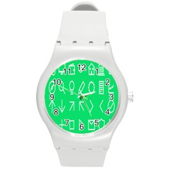 Icon Sign Green White Round Plastic Sport Watch (m) by Alisyart