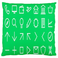 Icon Sign Green White Standard Flano Cushion Case (one Side) by Alisyart