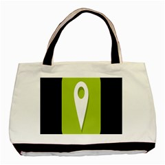 Location Icon Graphic Green White Black Basic Tote Bag by Alisyart