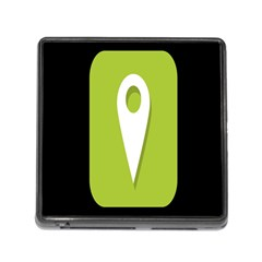 Location Icon Graphic Green White Black Memory Card Reader (square) by Alisyart