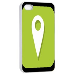 Location Icon Graphic Green White Black Apple Iphone 4/4s Seamless Case (white) by Alisyart