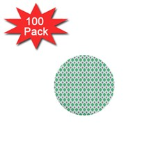 Crown King Triangle Plaid Wave Green White 1  Mini Buttons (100 Pack)  by Alisyart