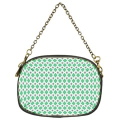 Crown King Triangle Plaid Wave Green White Chain Purses (one Side)  by Alisyart