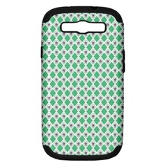 Crown King Triangle Plaid Wave Green White Samsung Galaxy S Iii Hardshell Case (pc+silicone) by Alisyart