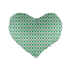Crown King Triangle Plaid Wave Green White Standard 16  Premium Flano Heart Shape Cushions by Alisyart