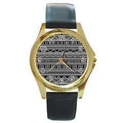 Myria Wrapping Paper Black Round Gold Metal Watch by Alisyart