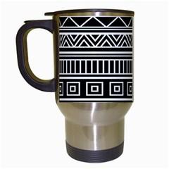 Myria Wrapping Paper Black Travel Mugs (white) by Alisyart