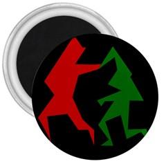 Ninja Graphics Red Green Black 3  Magnets by Alisyart