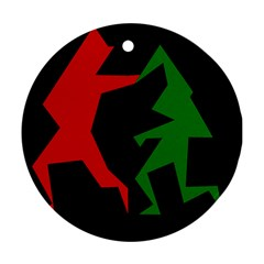 Ninja Graphics Red Green Black Round Ornament (two Sides) by Alisyart
