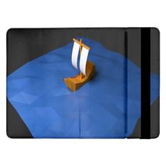 Low Poly Boat Ship Sea Beach Blue Samsung Galaxy Tab Pro 12 2  Flip Case by Alisyart