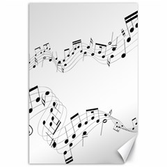 Music Note Song Black White Canvas 20  X 30   by Alisyart