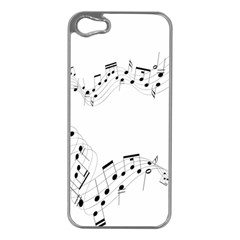 Music Note Song Black White Apple Iphone 5 Case (silver) by Alisyart