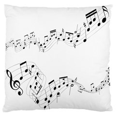 Music Note Song Black White Large Flano Cushion Case (two Sides) by Alisyart