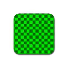 Plaid Flag Green Rubber Square Coaster (4 Pack)  by Alisyart