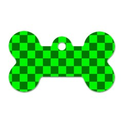 Plaid Flag Green Dog Tag Bone (Two Sides)