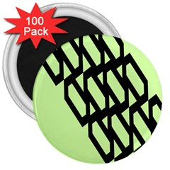 Polygon Abstract Shape Black Green 3  Magnets (100 Pack) by Alisyart