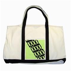 Polygon Abstract Shape Black Green Two Tone Tote Bag by Alisyart
