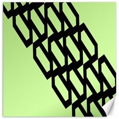 Polygon Abstract Shape Black Green Canvas 12  X 12   by Alisyart