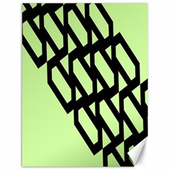 Polygon Abstract Shape Black Green Canvas 12  X 16   by Alisyart