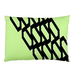 Polygon Abstract Shape Black Green Pillow Case by Alisyart