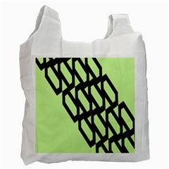 Polygon Abstract Shape Black Green Recycle Bag (two Side)  by Alisyart