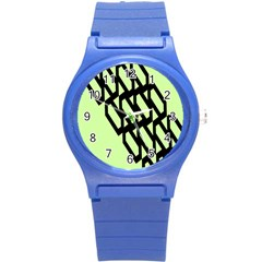 Polygon Abstract Shape Black Green Round Plastic Sport Watch (s) by Alisyart