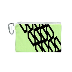 Polygon Abstract Shape Black Green Canvas Cosmetic Bag (s) by Alisyart