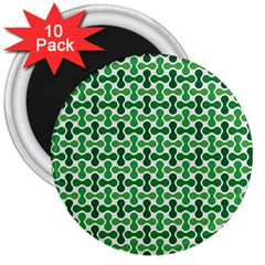 Green White Wave 3  Magnets (10 Pack)  by Alisyart