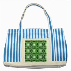 Green White Wave Striped Blue Tote Bag by Alisyart