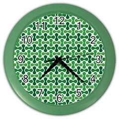 Green White Wave Color Wall Clocks by Alisyart