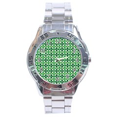 Green White Wave Stainless Steel Analogue Watch by Alisyart
