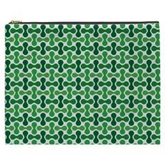 Green White Wave Cosmetic Bag (xxxl)  by Alisyart