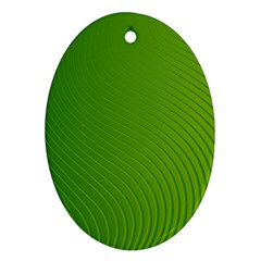 Green Wave Waves Line Oval Ornament (two Sides) by Alisyart
