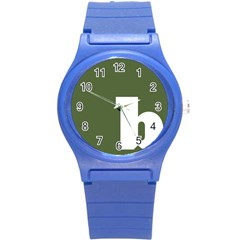 Square Alphabet Green White Sign Round Plastic Sport Watch (s) by Alisyart