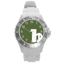 Square Alphabet Green White Sign Round Plastic Sport Watch (l) by Alisyart