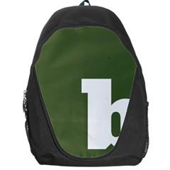 Square Alphabet Green White Sign Backpack Bag by Alisyart