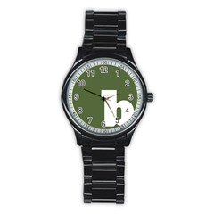 Square Alphabet Green White Sign Stainless Steel Round Watch by Alisyart